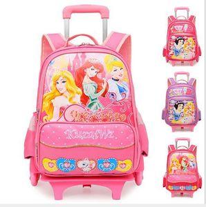 Детский Школьный рюкзак, сумка с колесами, школьная сумка принцессы на колесиках, рюкзак для девочек