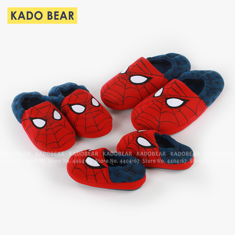 Children Cartoon Spiderman Cotton Winter Warm Slippers Kids Boys Fur Plush Indoor Home Shoes Baby Girls Bedroom Soft Flip Flops