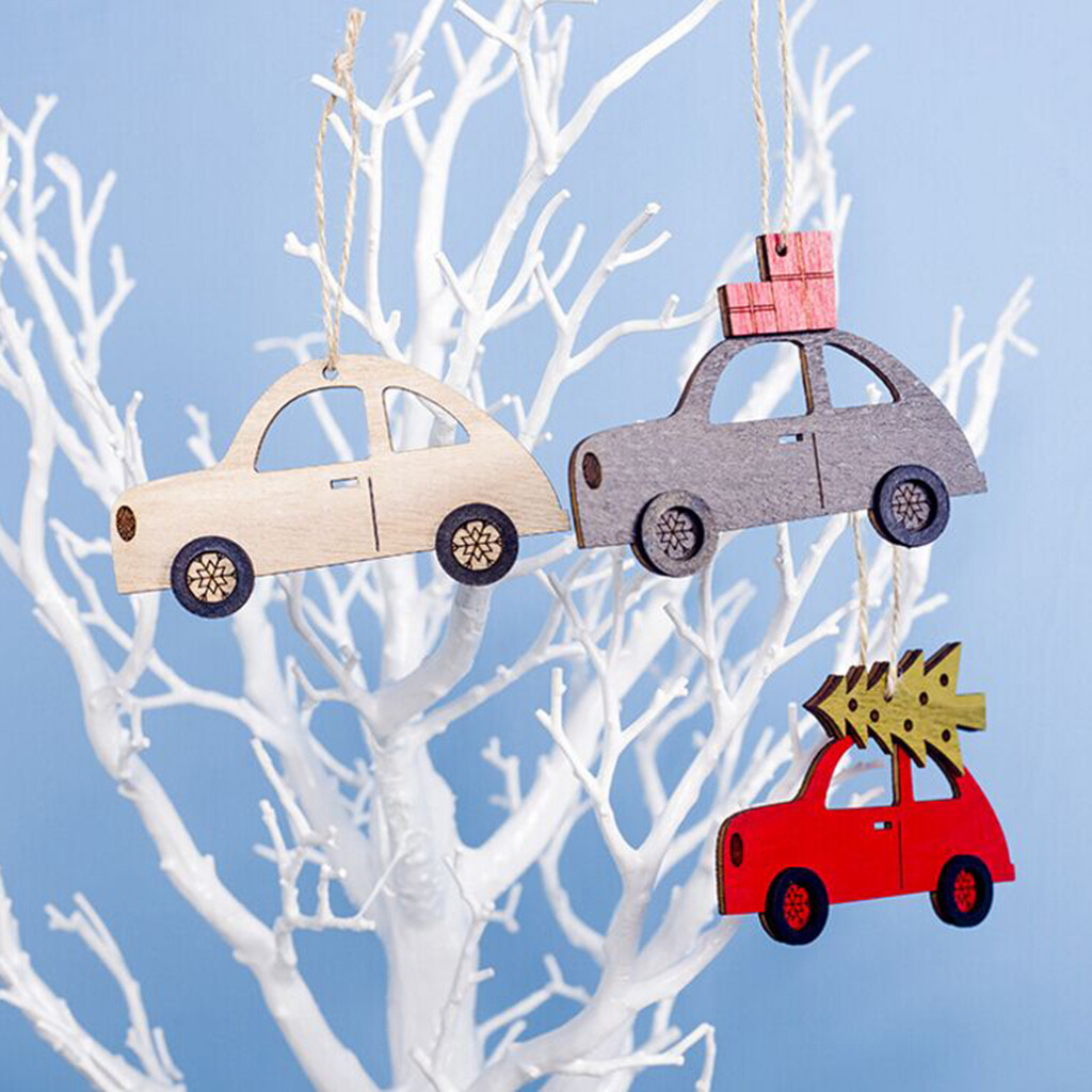 Home Decoration Wooden Painted Car Hanging Pendant Christmas Ornament Xmas Tree