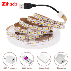 USB LED Strip 5050 5V LED Stripe Ribbon Tape 60LED/M Flexible LED Under Cabinet Kitchen Light HDTV TV Desktop Screen Backlight