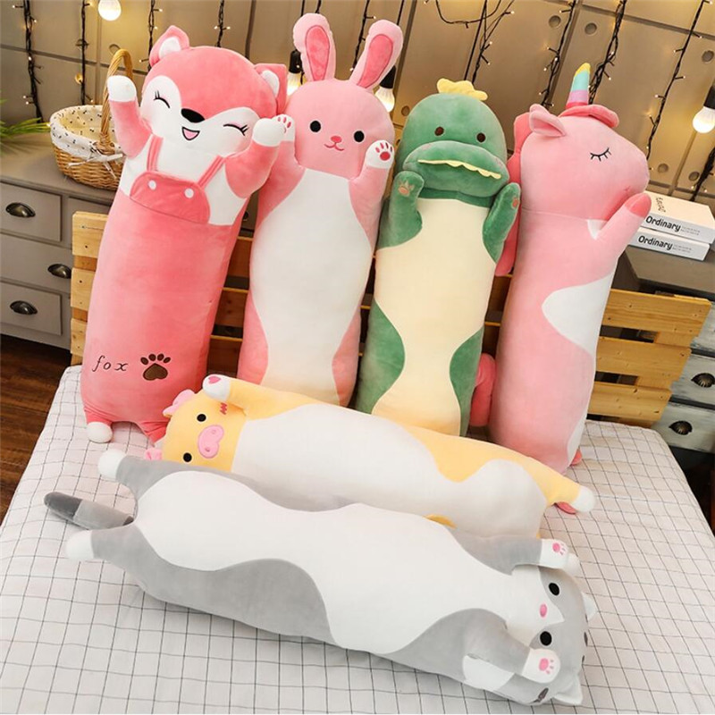 Cartoon Animal Dinosaur Unicorn Cat Plush Toys Stuffed Soft Long Sleeping Pillow Dolls Children Birthday Christmas Gift