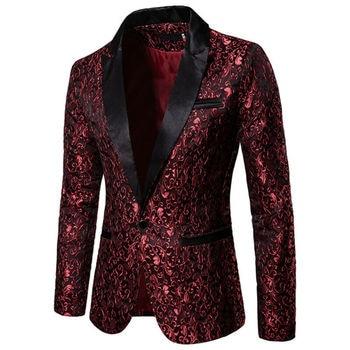 2019 Men's Stylish Luxury Casual Vintage Paisley Blazer Urbane Smart Coat Suit Jacket Formal Evening Party Dress