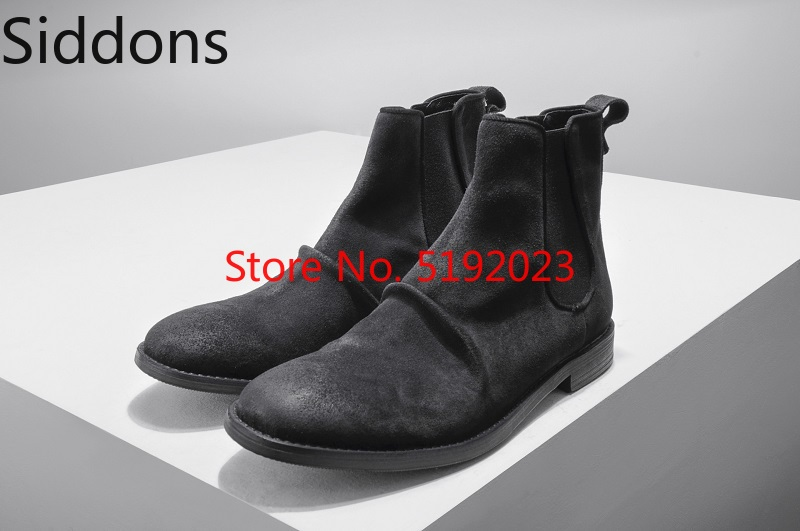Autumn And Winter Men Retro Old Sleeve Suede Chelsea Boots Pleated Slip On Flock Male Casual Boot D169