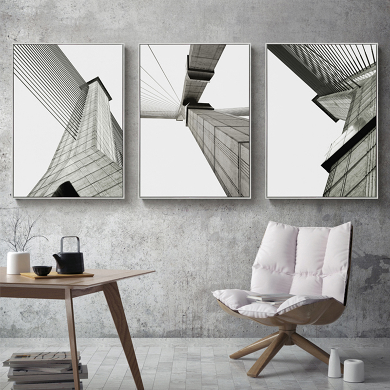 Industrial Geometric Building Canvas Painting Black White Wall Art Posters and Prints Pictures for Living Room Home Decor