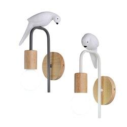 Indywidualny charakter lampa ptak europa północna ściana wisi lampa do dekoracji kreatywna lampa toaletowa toaleta mała kinkiet prawdziwe drewno
