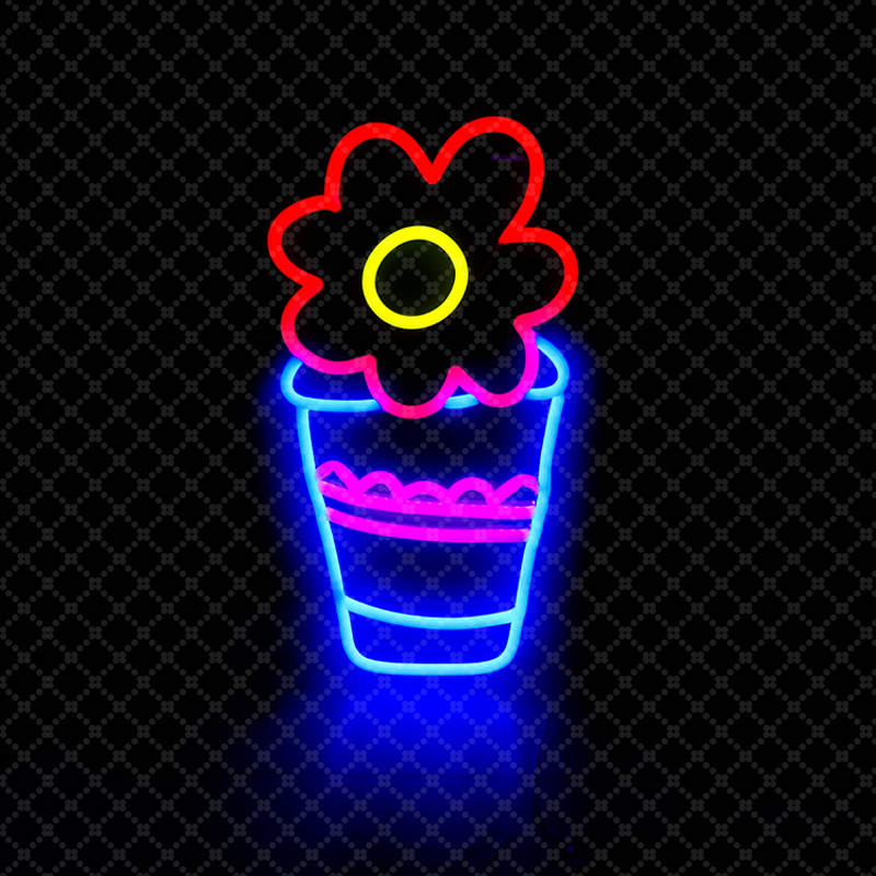 17'' Beverage Flower Neon Sign LED Light Tube Handmade Visual Artwork Bar Club KTV Wall Decoration Commercial Lighting Colorful