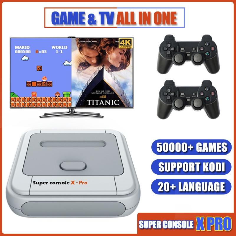 Супер консоль X PRO, игровые консоли с эмулятором, поддержка KODI, Wi-Fi, ретро консоль, встроенные 50000 + игр для PSP PS1 N64, ТВ выход
