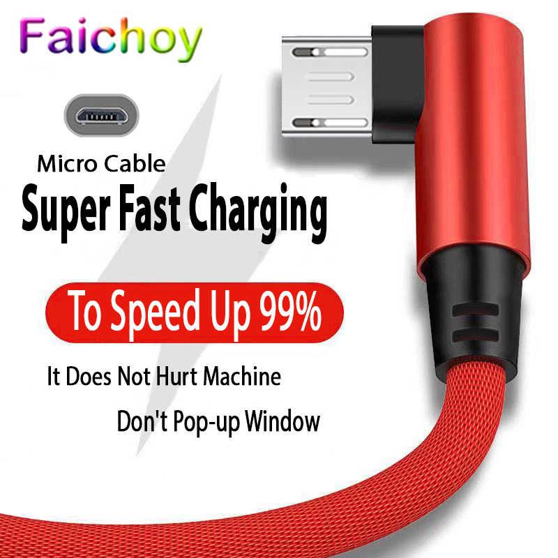 สายMicro USBสาน 90 องศาข้อมูลสายเคเบิลโทรศัพท์มือถือไนลอนสำหรับHuawei Android Xiaomi Samsung Fast Charging Wire 1M 2M