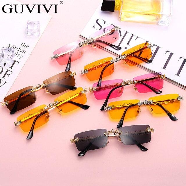 Rimless Diamond Sunglasses Women 2020 Rectangle Steampunk Sun Glasses Crystal Vintage Rhinestone Glasses Eyewear UV400 Oculos 6