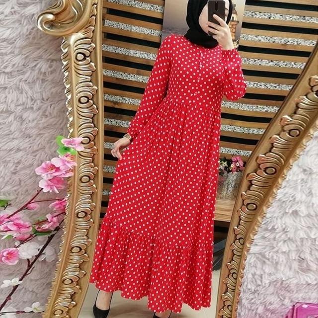 طباعة دوت حجم كبير فساتين ماكسي المرأة دبي العربية مسلم الكشكشة مطوي فستان طويل الإسلام عباية رمضان الملابس الإسلامية S 5XL