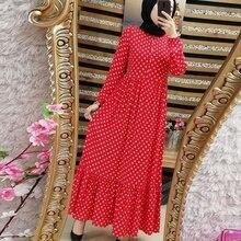 Drucken Dot Plus Größe Maxi Kleider Frauen Dubai Arabischen Muslimischen Rüschen Falte Lange Kleid Islam Abaya Ramadan Islamische Kleidung S 5XL