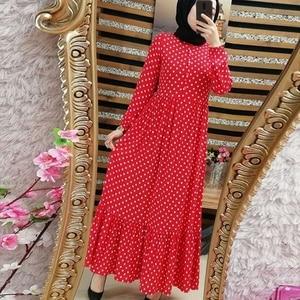 Image 1 - Imprimer Dot grande taille Maxi robes femmes dubaï arabe musulman volants pli longue robe Islam Abaya Ramadan islamique vêtements S 5XL