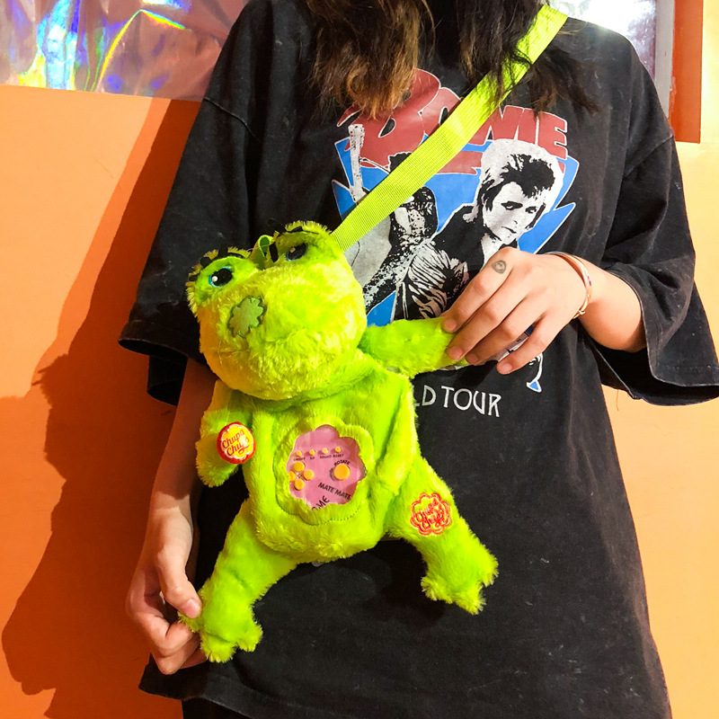 Kawaii New Japanese Cartoon Lovely Meng Frog Woman Pack Furry Single Shoulder Slant Plush Backpack Small Shoulder Backpack