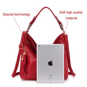 Image 2 - Snake Leather Women Shoulder Bag 2020 Female Serpentine Pattern Hobo Bag Tassel Women Handbag Purse Big Red Tote Ladies Hand Bag