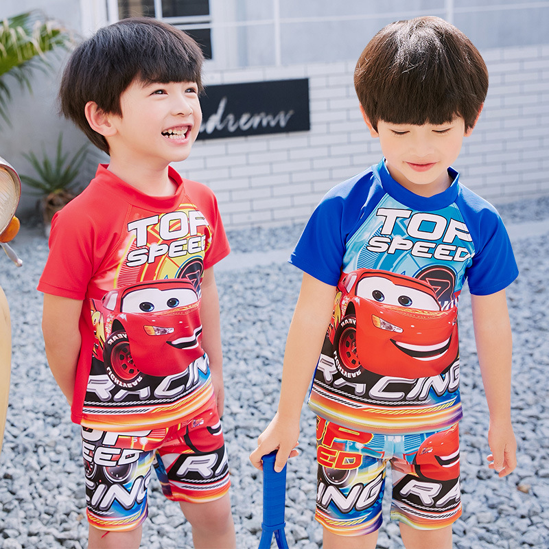 Sports Split Type Two Piece Set BOY'S Swimsuit Race Car McQueen CHILDREN'S Swimwear Quick-Dry Children Boy