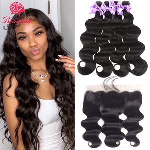Peruvian Human Hair Weavs 60gBundle With Frontal Body Wave Human Hair Bundles With Closure13x4 Ear to Ear Lace Frontal Baby Hair