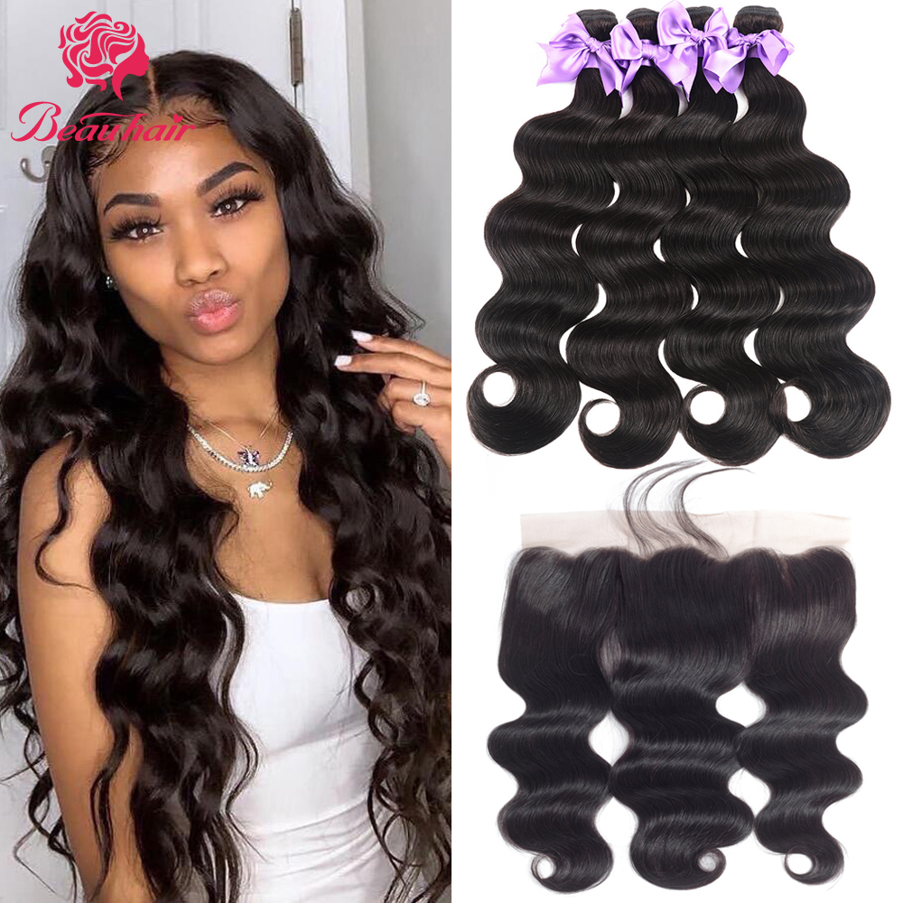 Peruvian Human Hair Weavs Bundle With Frontal Body Wave Human Hair Bundles With Closure13x4 Ear To Ear Lace Frontal & Baby Hair