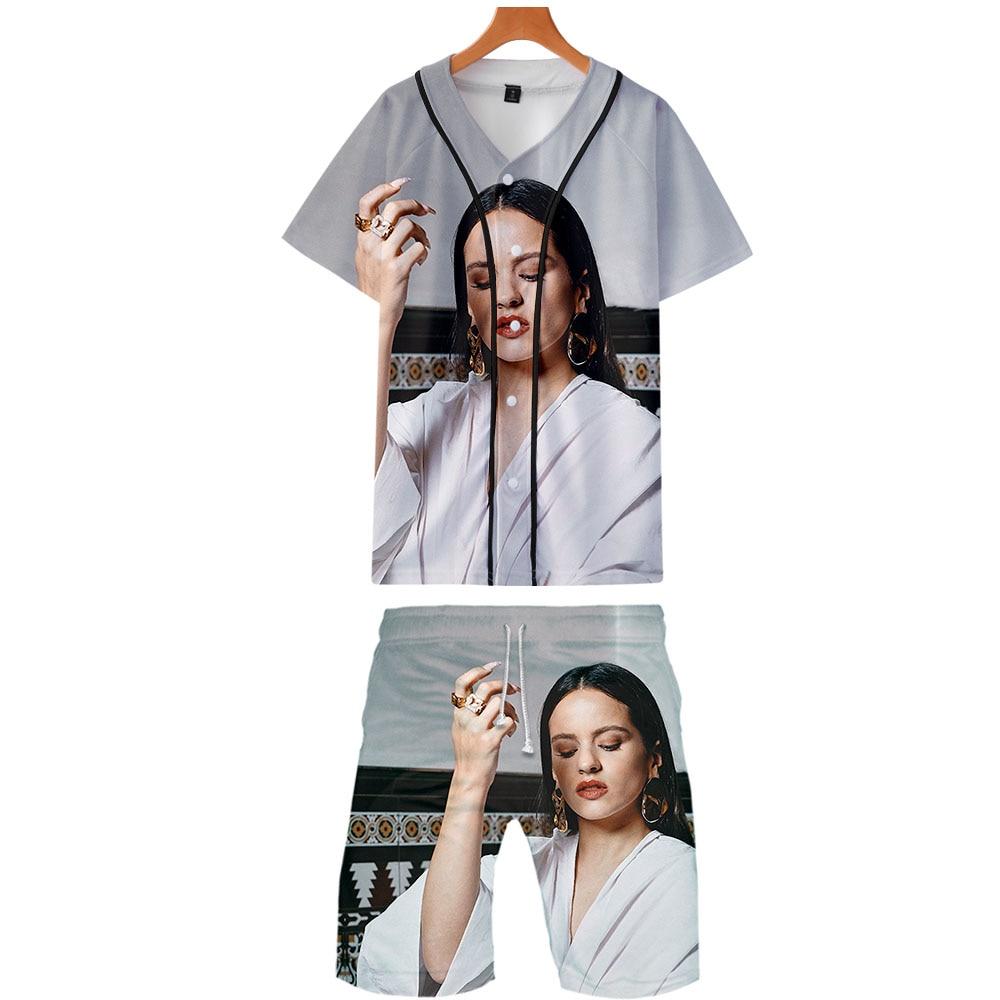 2019 ROSALIA Two Piece Set Jackets And Shorts Kpop Fashion New Cool Print ROSALIA Baseball Jacket Set For Men Streetwear