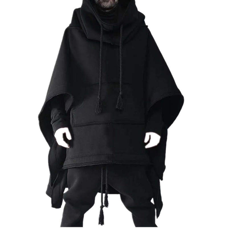 Cape Cloak In The Long Bat Hoodie Autumn And Winter Woolen Coat Male Personality Jacket Woolen Shawl  Men's Fashion Tops
