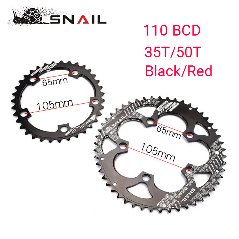 BDSNAIL <font><b>110BCD</b></font> Chainring <font><b>50T</b></font>/35T Road Bike Double Oval Chain Ring 7075-T6 Bicycle Chainwheel Disc Fit SHIMANO,SRAM,FSA,etc image