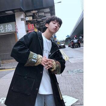 2019 Autumn New Korean Men's Fashion Wild Long Section INS Tide Personality Loose Harajuku Casual Windbreaker