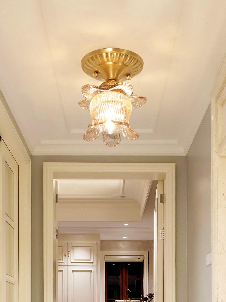 Европейский стиль медный коридор потолочный светильник креативный балкон спальня кабинет кристалл потолочный светильник современная кух