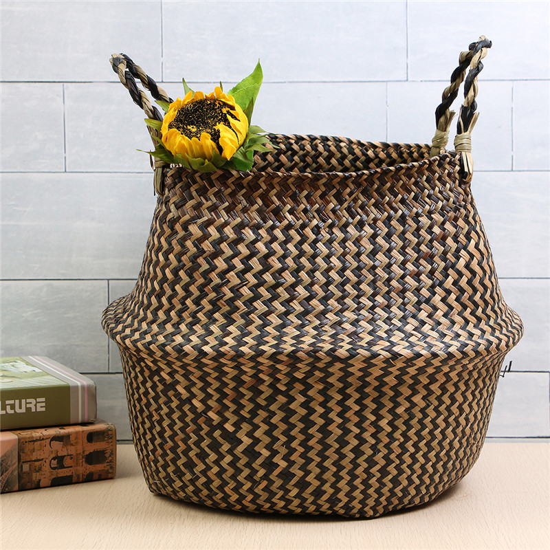 Natural Seagrass Belly Basket Storage Holder Laundry Plant Pot Bag Container Home Decoration 38*36CM
