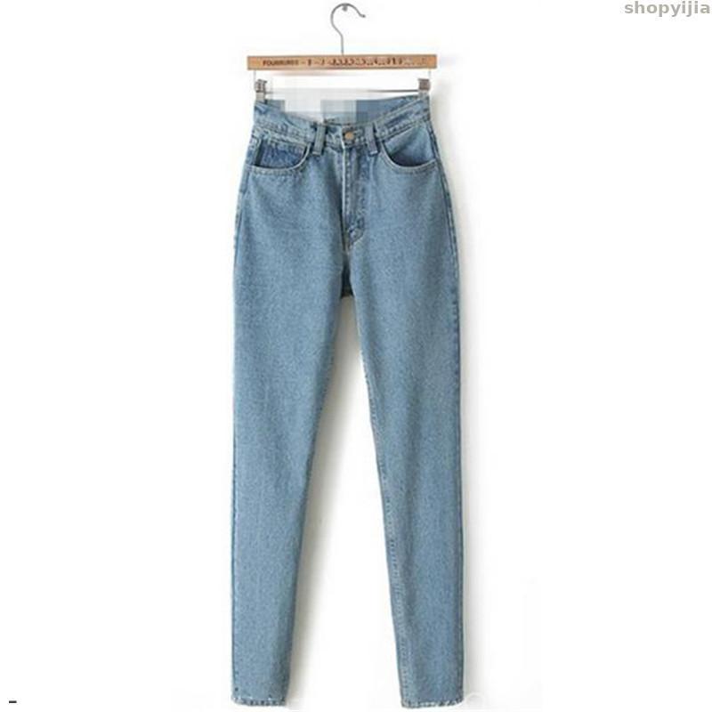 New Spring Autumn Korean Fashion Light Blue XS-3XL Plus Size Jeans Zipper Pockets Pencil Pants Jeans Mom Jeans