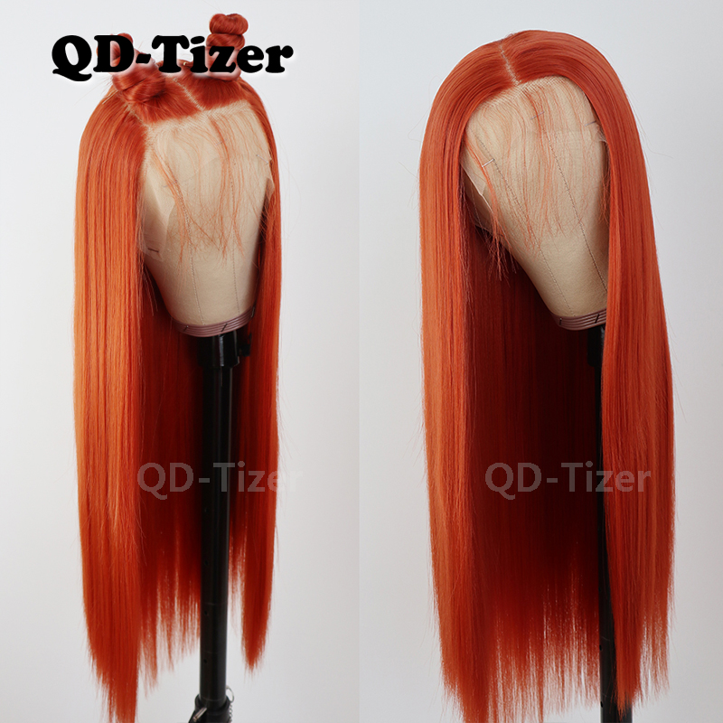 QD-Tizer 13*6 Synthetic Lace Front Wigs Orange Color Straight Heat Resistant Synthetic Lace Hair Wigs
