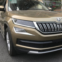 Mobil Styling ABS Chrome Front Fog Light Cover Lampu Alis Bumper untuk Skoda Kodiaq 2017 2018 2019 Aitwatt(China)