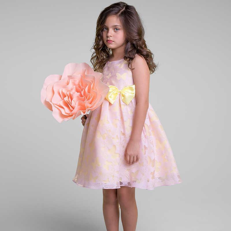 Летнее Детское платье с цветочным рисунком для маленьких девочек; платья с бабочками для дня рождения; детское нарядное бальное платье принцессы; одежда для свадебной вечеринки