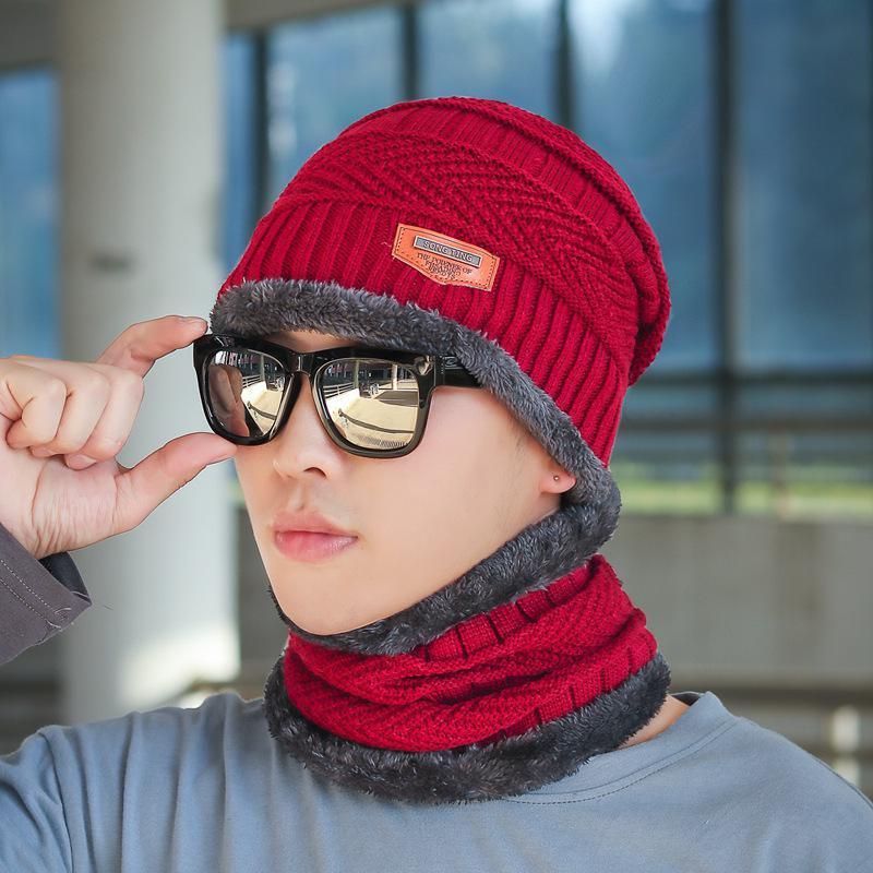 COKK зимние шапки с бархатным воротником для мужчин бини вязаная шапка с шарфом вельветовый утепленный комплект ветрозащитная уличная Зимняя распродажа - Цвет: Red Gray