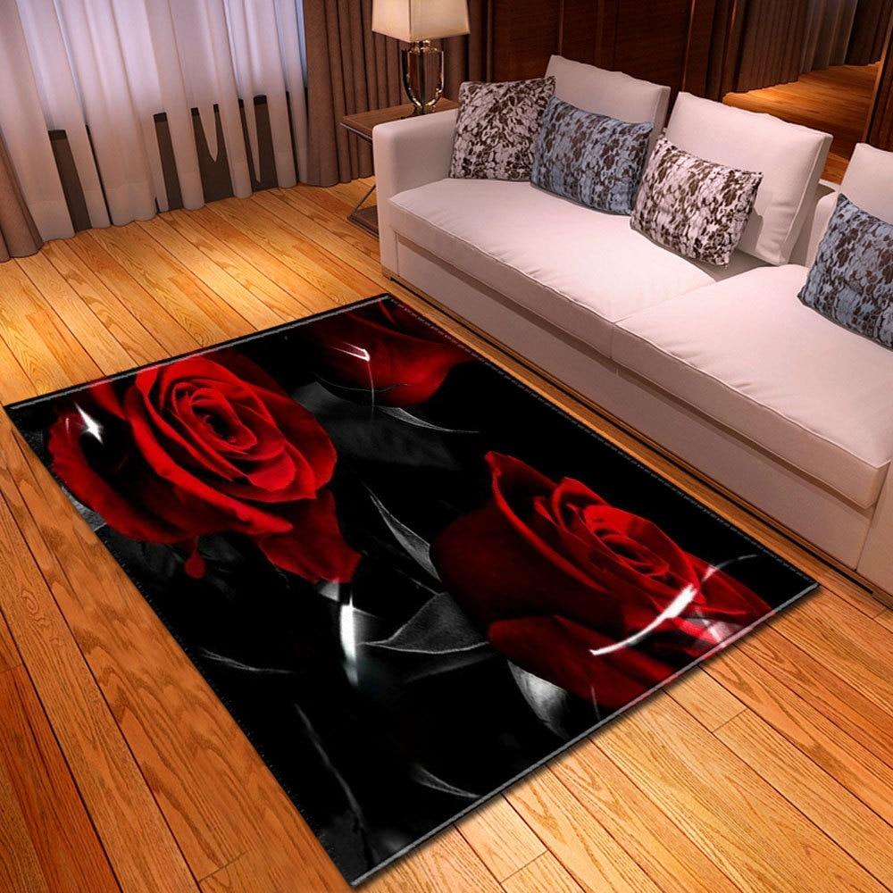 Tapis et tapis floraux de Rose pour le salon à la maison tapis antidérapant de Sofa tapis de plancher de chambre à coucher 3d pour des tapis mécaniques de lavage de décor à la maison
