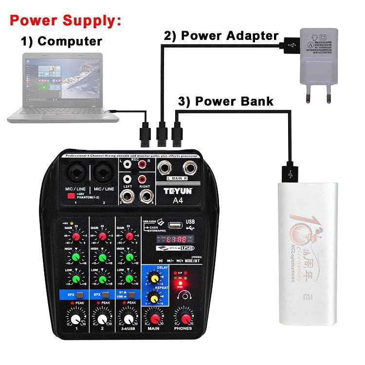 Kuulee Audio MixerConsole Record 48V Phantom Power Monitor AUX Paths Plus Effects 4 Channels Sound Mixing with USB