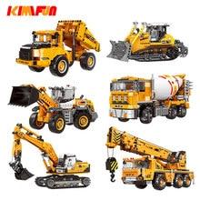 Engineering Bulldozer Crane Working Cement Mixer Truck Car Building Block City Construction Toy Compatible Block