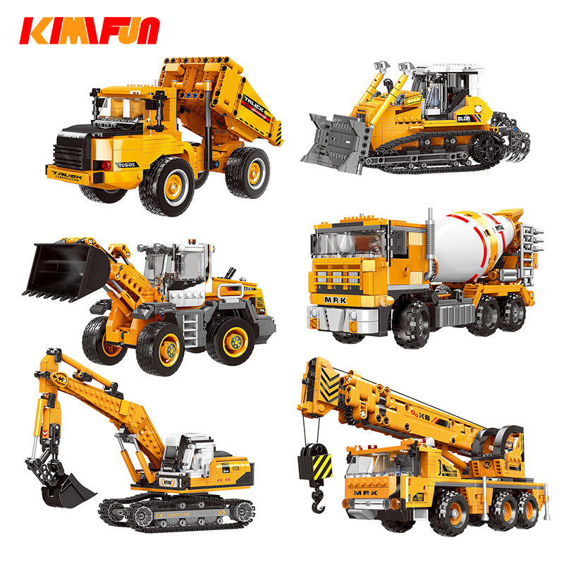 Engineering Bulldozer Crane Working Technic Cement Mixer Truck Car Building Block City Construction Toy Compatible Block