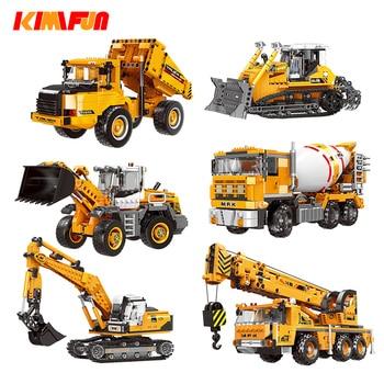 Engineering Bulldozer Crane Working Technic Cement Mixer Truck Car Building Block City Construction Toy Compatible Block недорого