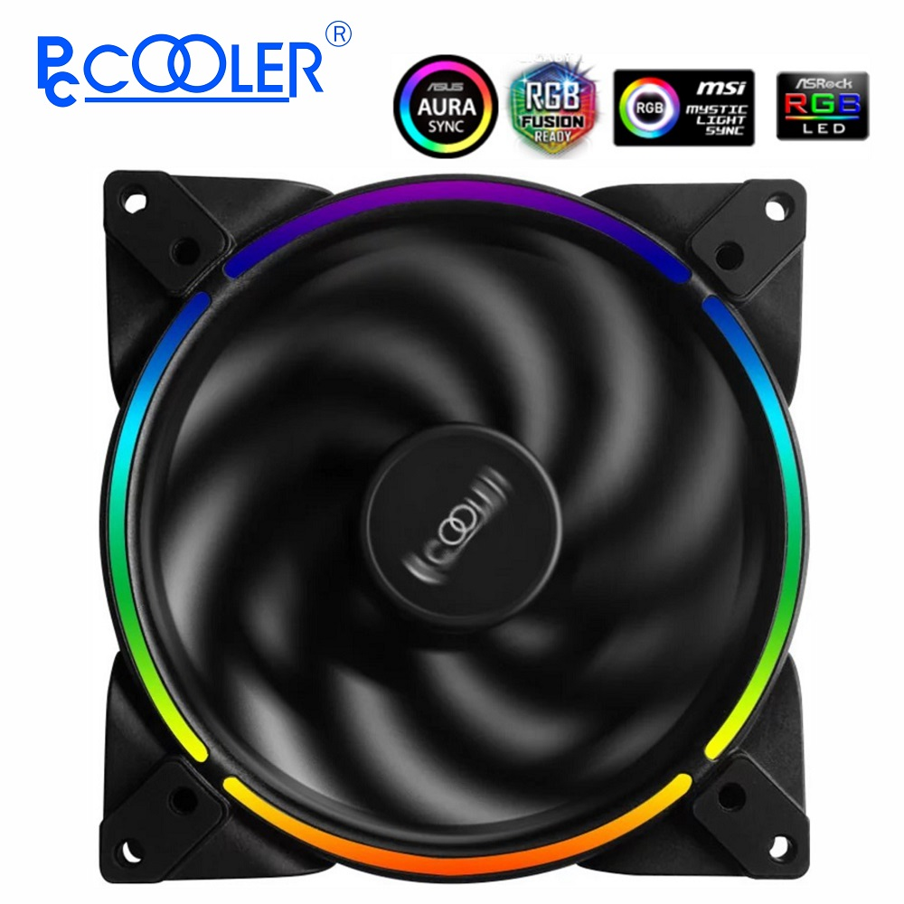 Pccooler <font><b>RGB</b></font> LED 14cm PC Computer Case Adjust <font><b>Fan</b></font> 3PIN& 4PIN <font><b>RGB</b></font> Ultra Quiet PWM <font><b>Fans</b></font> <font><b>140mm</b></font> CPU Cooler Water Cooling Replace <font><b>Fan</b></font> image