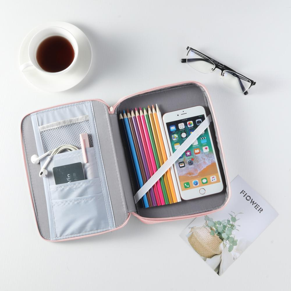 Simple Canvas Solid Color Large Capacity Pencil Pen Case Stationery Bag Package Cotton Linen Cosmetic Storage Carrier Box