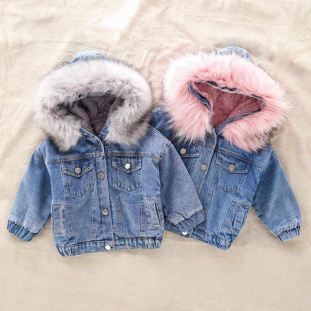 Toddler Kids Girls Denim Jean Winter Jacket Baby Faux Fur Fleece Warm Thick Denim Hooded Coat Outwear Hooded Denim Jackets 1-6Y