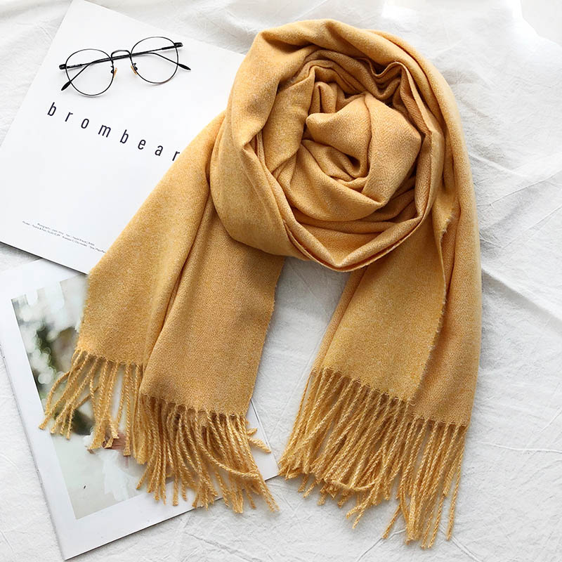 Autumn and winter new style monochrome padded cashmere thick warmth shawl bristles tassel imitation cashmere scarf  A215
