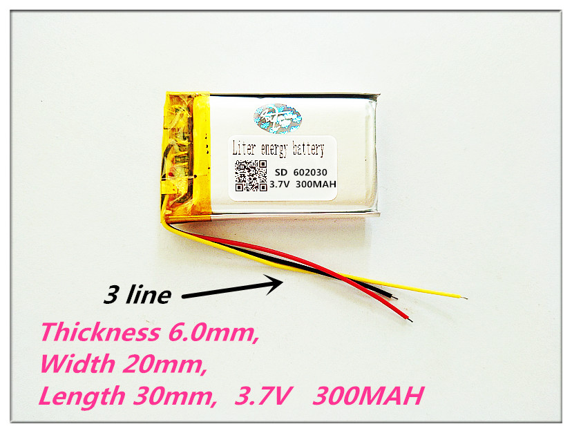 3 line <font><b>602030</b></font> 3.7V 300MAH lithium-ion polymer battery,camera,MP3,MP4,DVD,GPS navigator,Driving recorder image