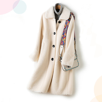 Fashion Long Female Coat Imitation Fur Lamb Coat Trend Temperament Section Warm Fur Coat Winter 2019 New