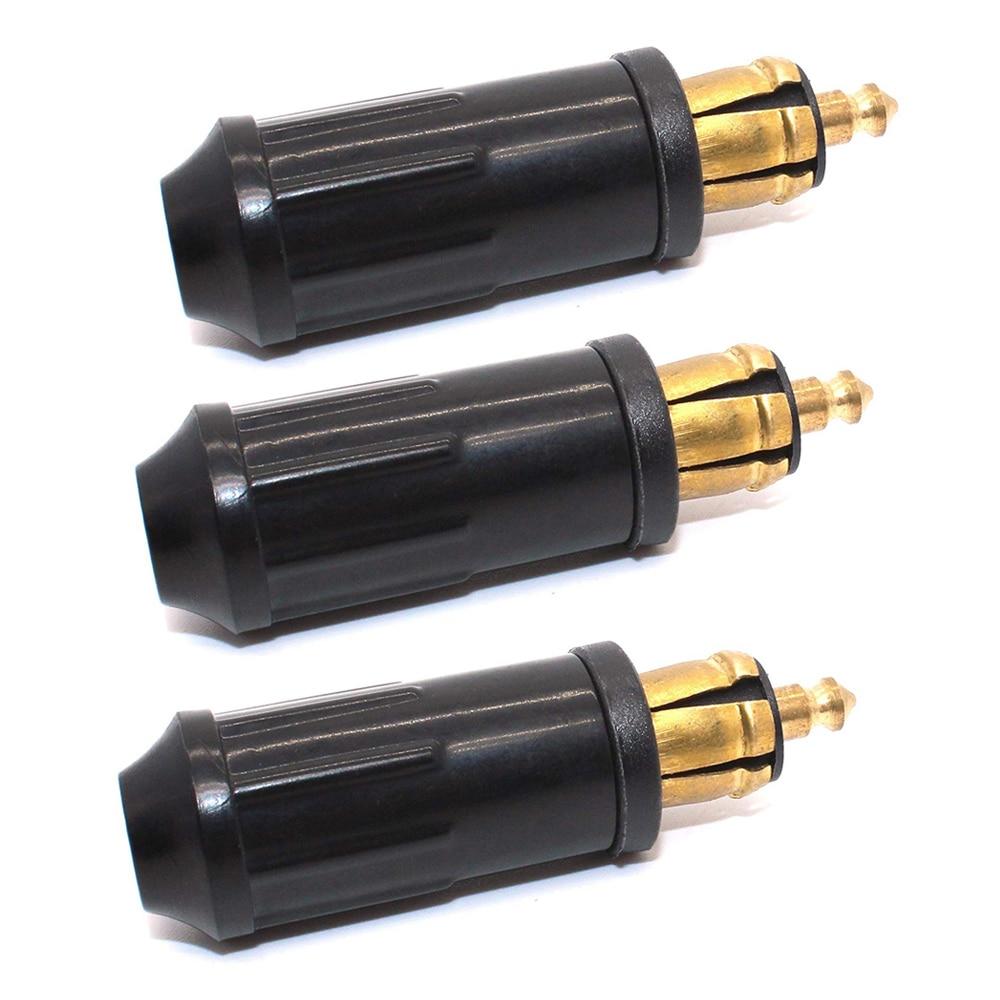 3pcs DIY DIN Hella  Male Plug Powerlet Plug European Type 12v Cigarette Lighter Adapter Connector Fits BMW Motorcycles