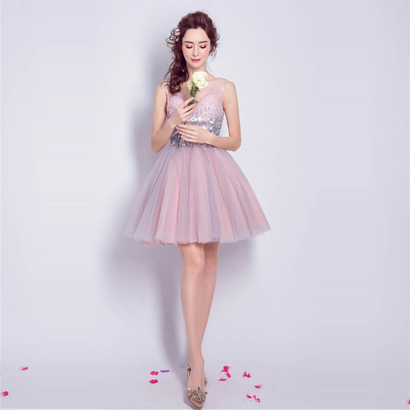 Cocktail Dresses Pink Sequins Tulle Sexy Mini Party Short Dress V-neck Robe Cocktail Above Knee Lace Up Fromal Gowns 2019 LX825