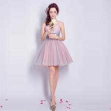 Cocktail Dresses Pink Sequins Tulle Sexy Mini Party Short Dress V-neck Robe Cocktail Above Knee Lace Up Fromal Gowns 2019 LX825 v neck red bean pink colour above knee mini dress satin dress women wedding party bridesmaid dress back of bandage