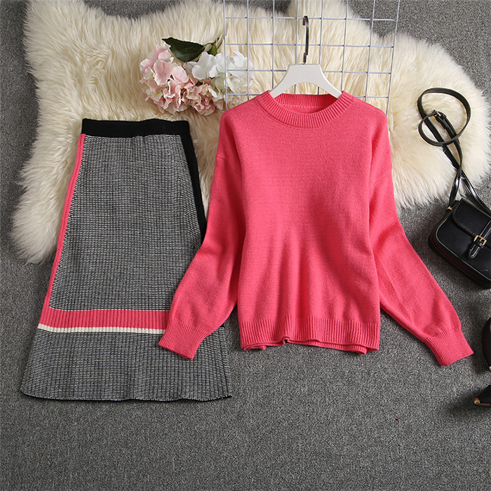 ALPHALMODA 2019 Autumn New Arrived Women Knitting Sweater Skirt Suits Bright Color Youthful Winter Knitting Outfit 2pcs Set 114