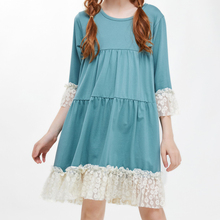 CupofSweet Lace Hem Cropped Lace Sleeves Tiered Shift Girls Dress Children Autumn Dress Shirt 3/4 Sleeve Kid Girl Casual Dresses