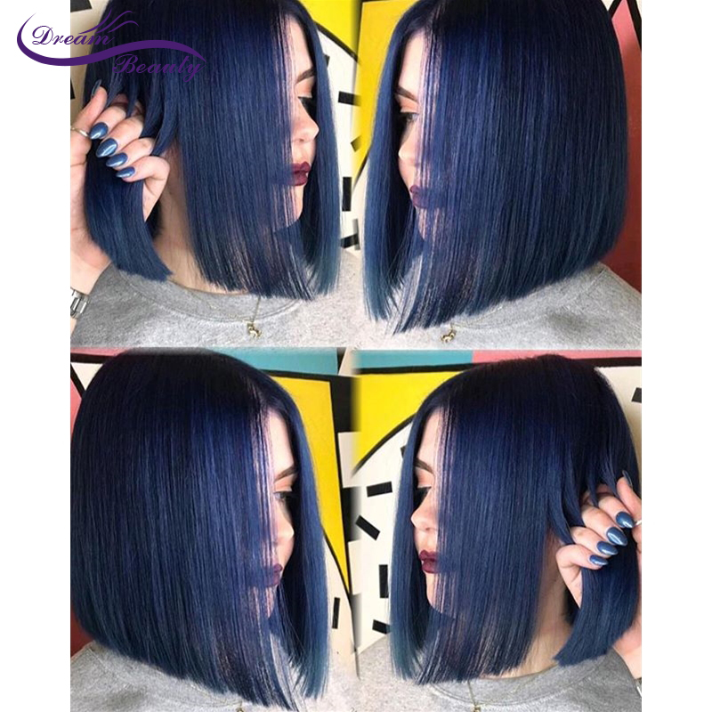Dream Beauty Bob Blue Color 13*4 Lace Front Human Hair Wigs With Baby Hair Preplucked Brazilian Straight Remy Hair