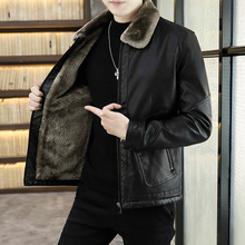 Jacket Casual-Coats Bomber-Deri Winter Fashion Korean Zipper Fur Straight Formal Fleece